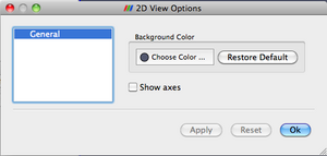 View settings dialog for the 2D View