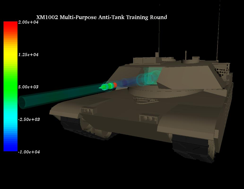 Xm1002 training round in launch. Calculation performed using Dyna3D