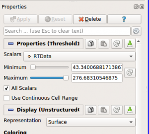 Figure 7: Properties panel in ParaView used to change filter parameters.