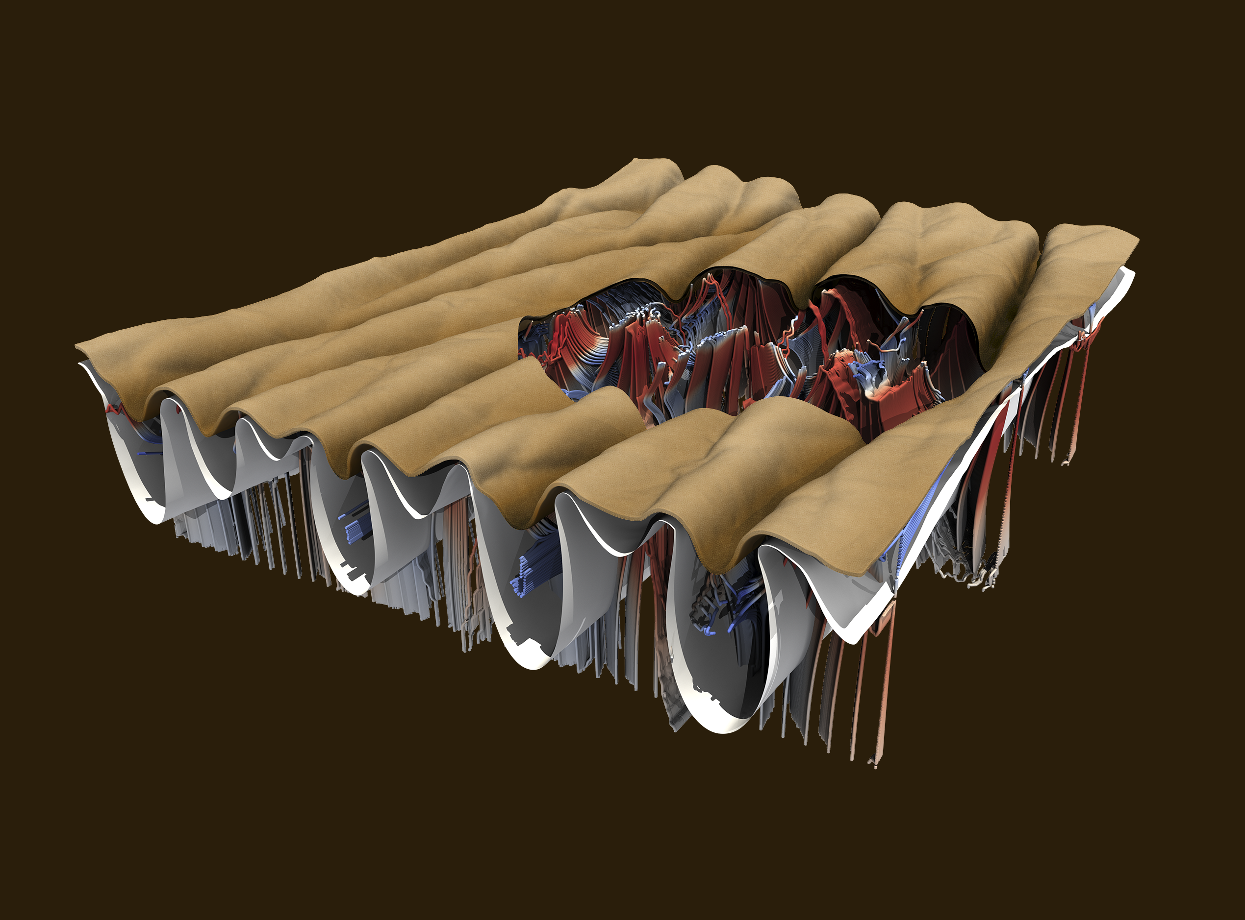 Finite element simulations of micro-wrinkle formation in human skin.