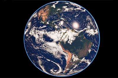 earth's western hemisphere with clouds